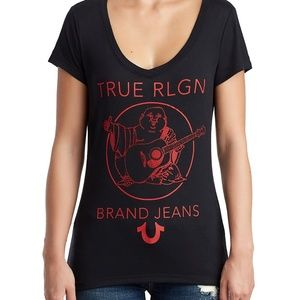 True Religion Women's Crystal Embellished Logo Tee